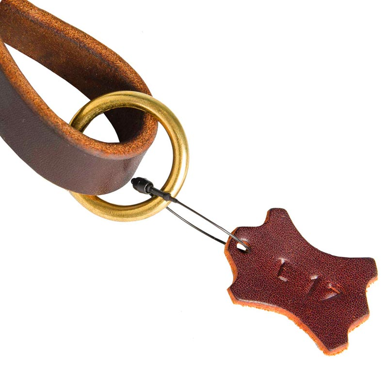 Leather Pull Tab for Dog with O-ring for Leash Attachment