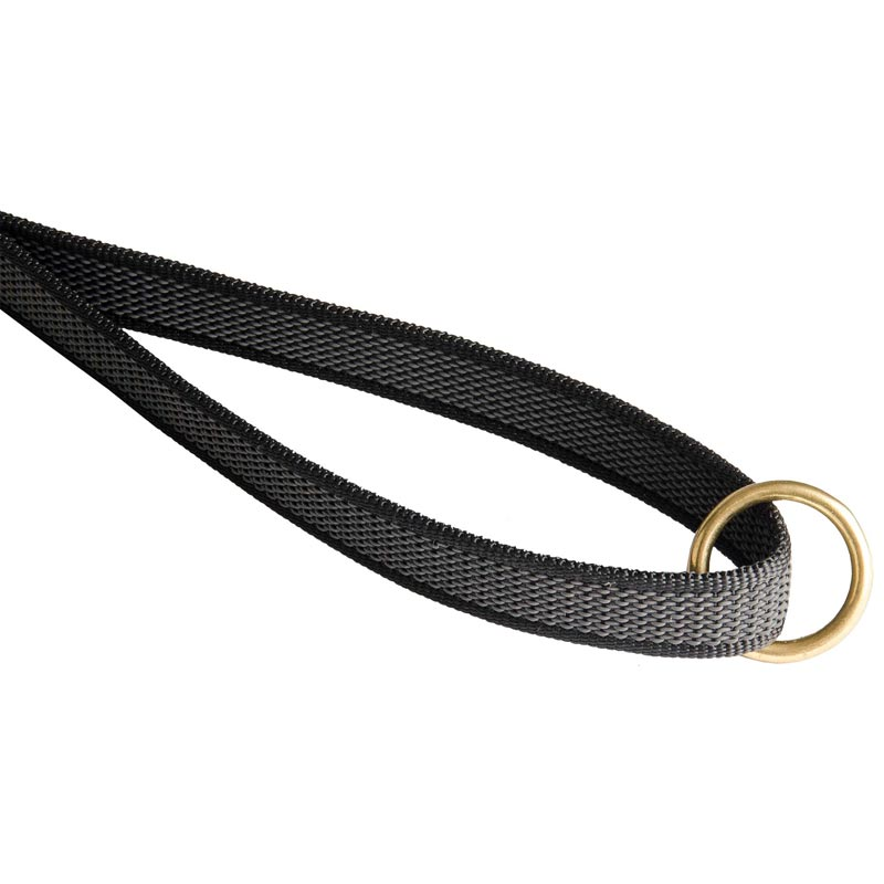 Dog Nylon Leash with Brass O-ring on Handle