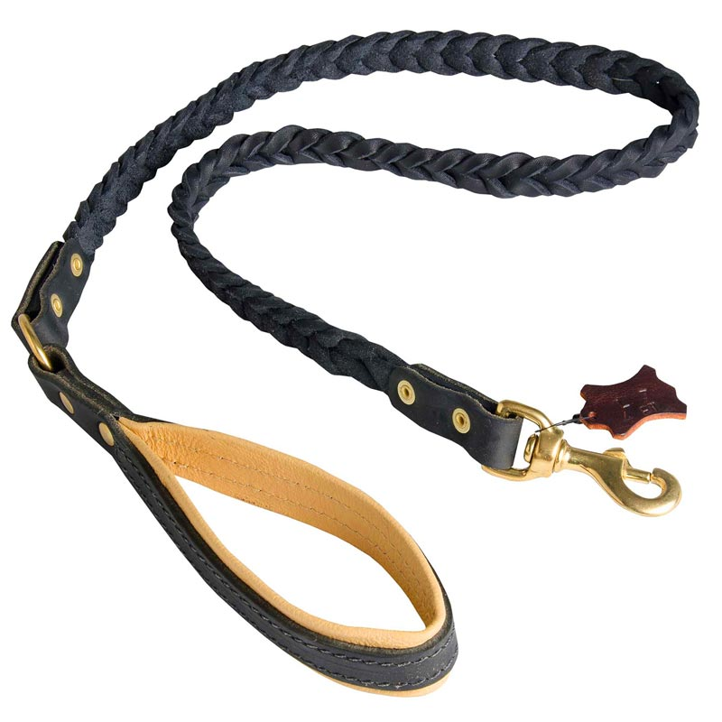 Leather Dog Leash with Nappa Padded Handle
